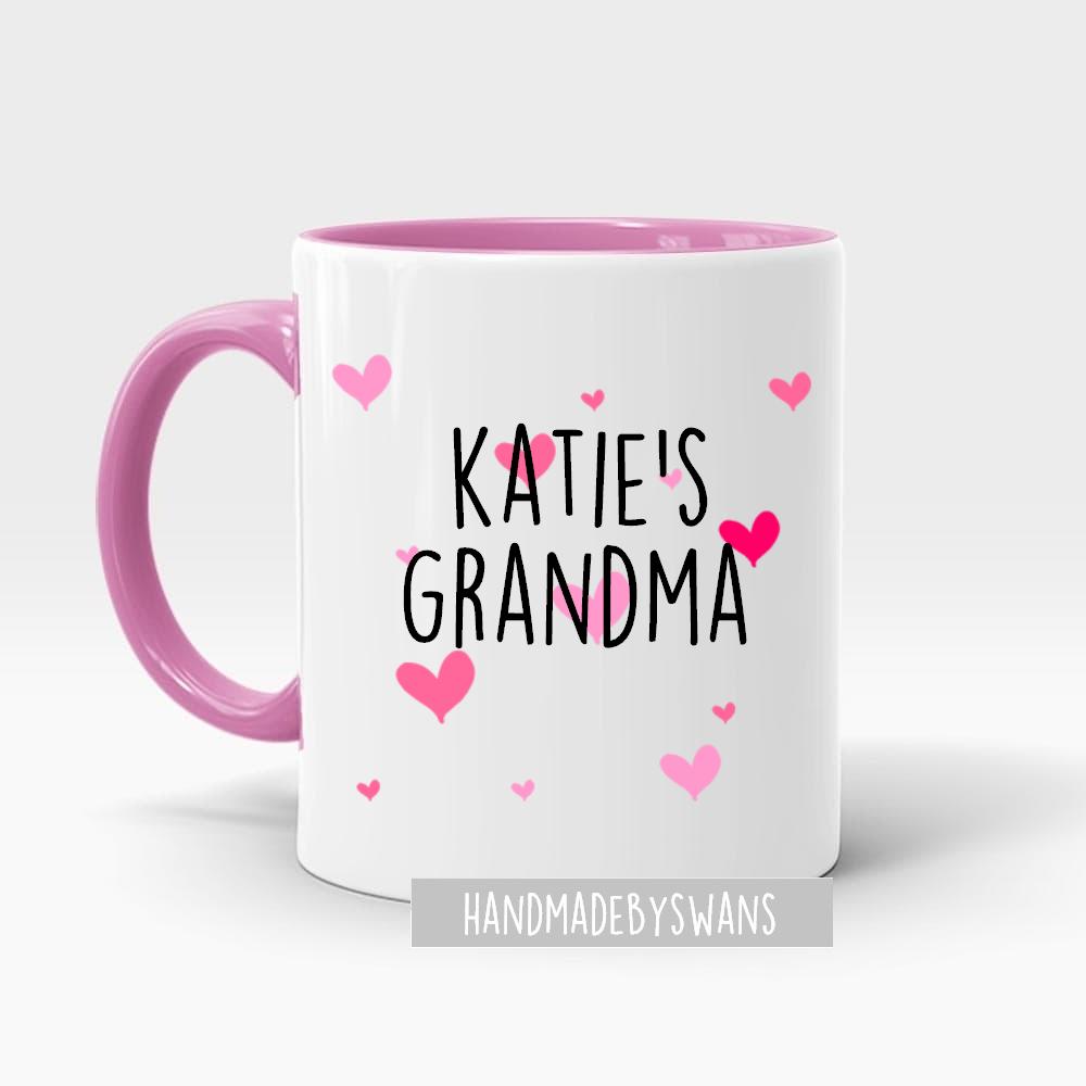 Personalised Grandma/ Nanna pink handle and hearts mug