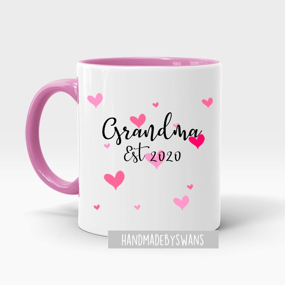 Personalised Grandma Est pink handle and hearts mug