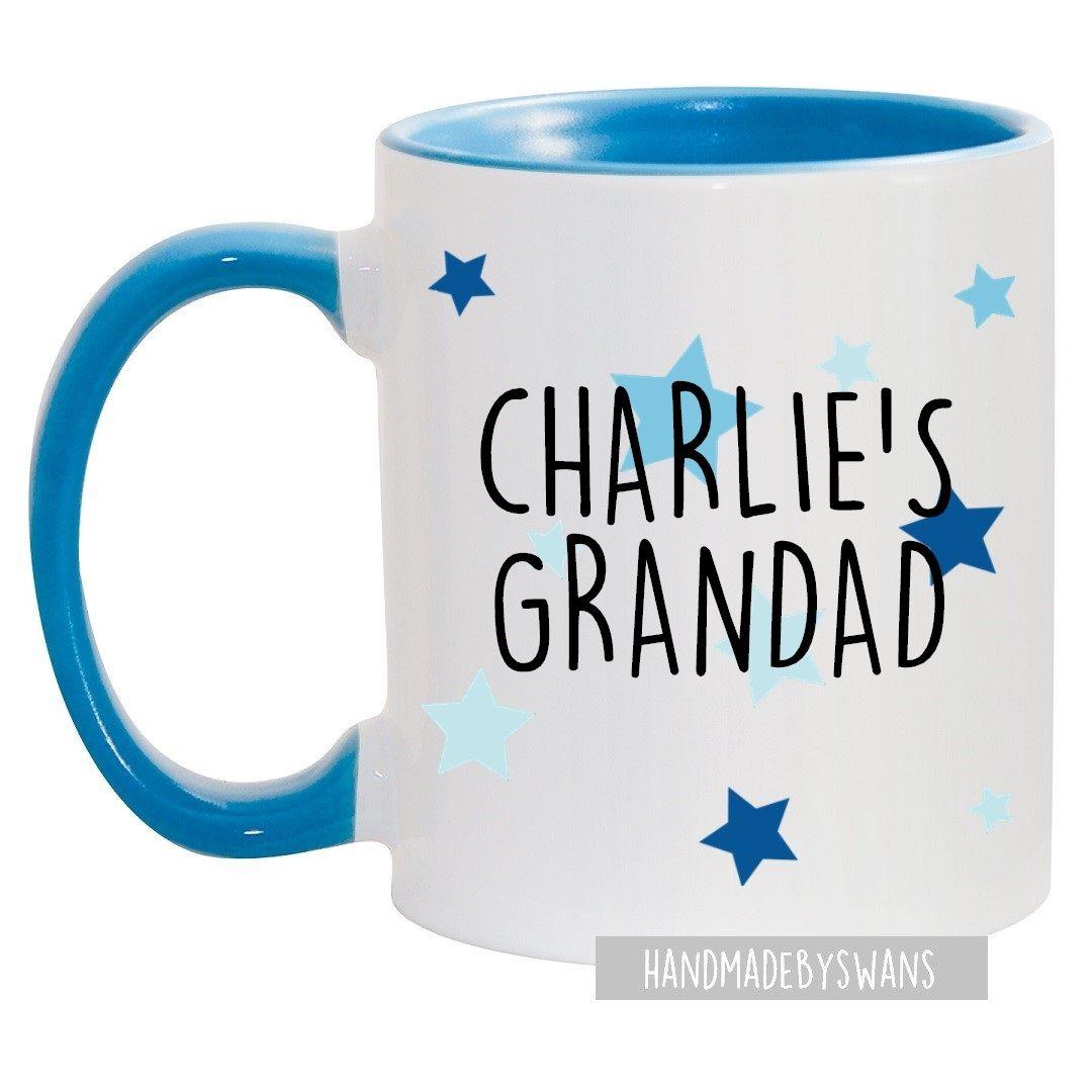 Personalised Grandad blue handle mug