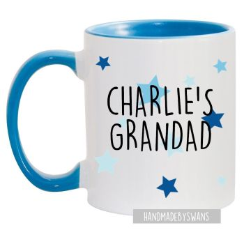 Personalised Grandad blue handle mug