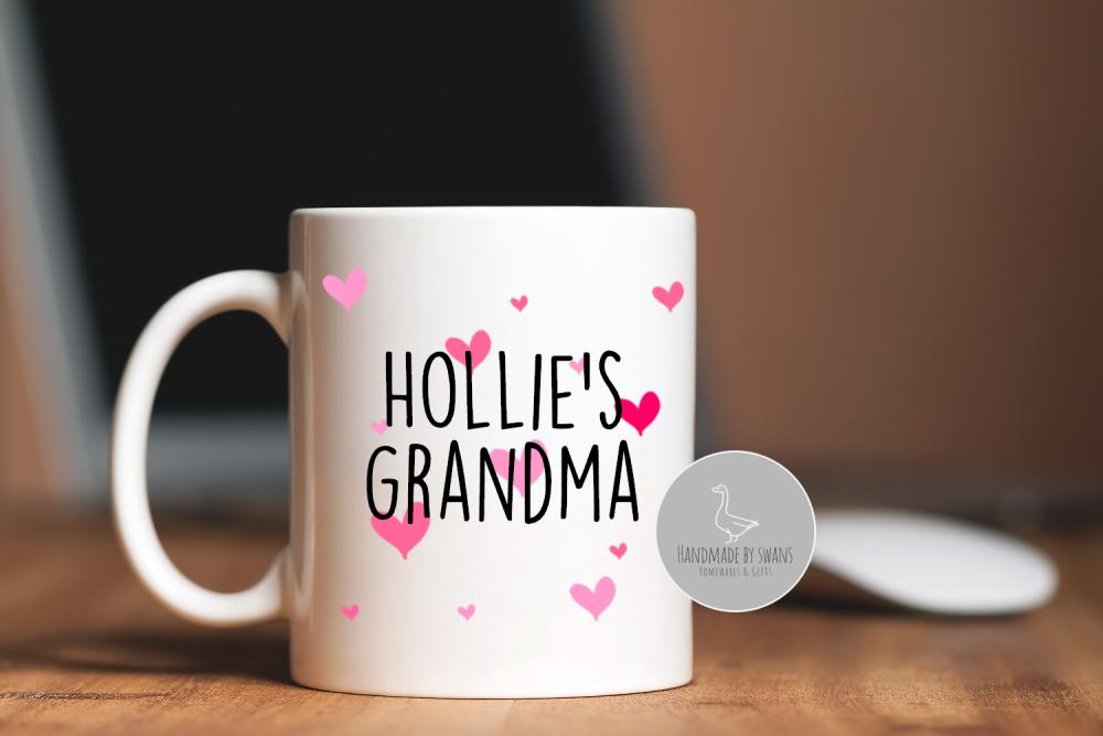 Personalised Grandma/ Nanna  hearts mug