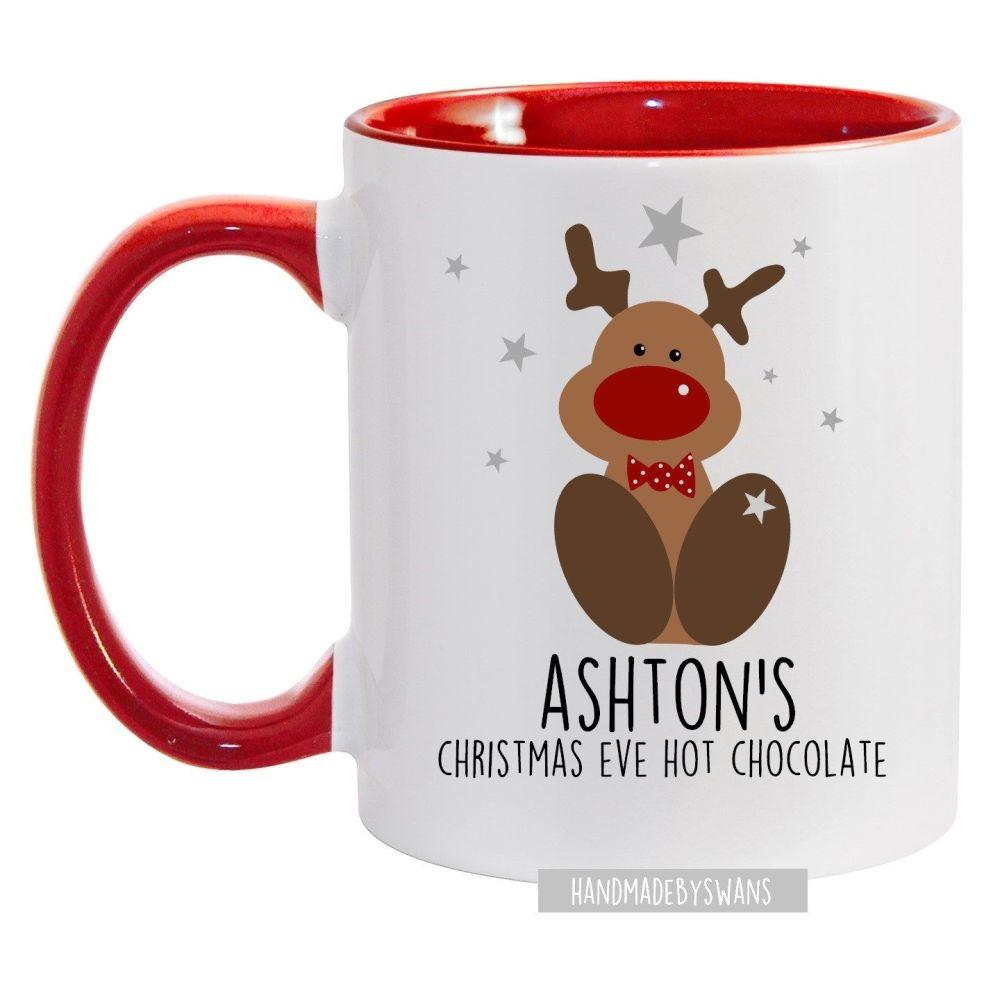 Personalised reindeer christmas red handle mug