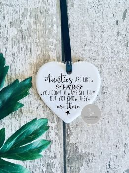 Aunties are like stars ceramic hanging heart