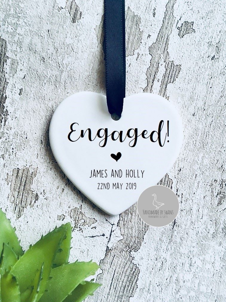 Personalised engaged ceramic hanging heart