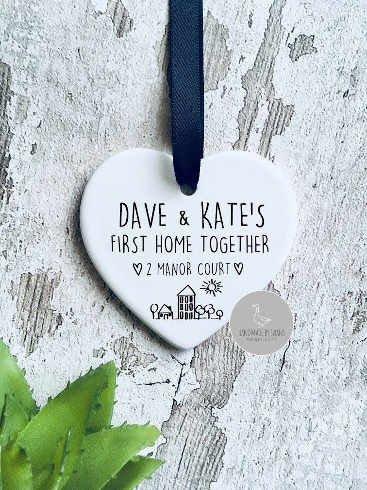 Personalised new home ceramic hanging heart