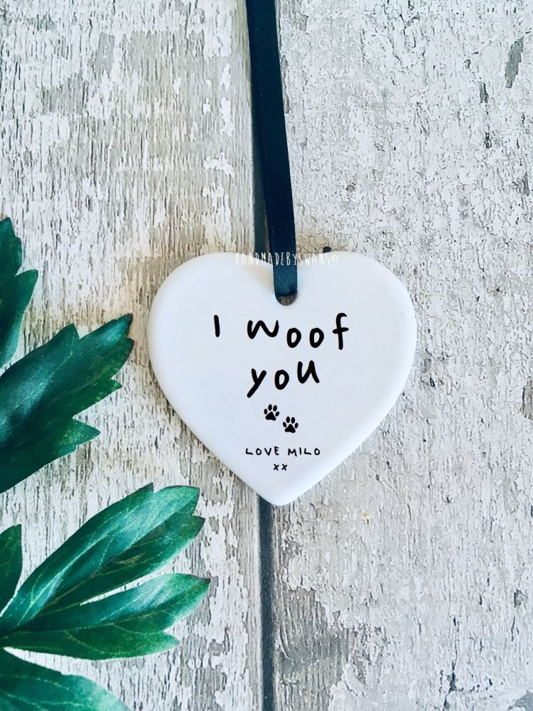 I woof you ceramic hanging heart
