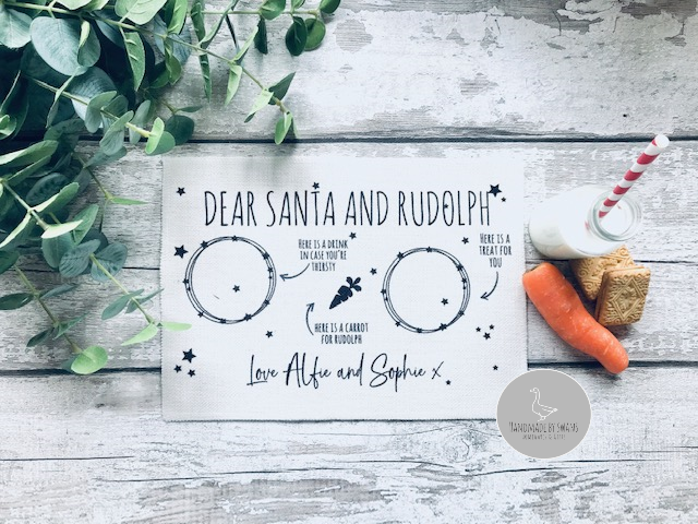 Santa and Rudolph Christmas Eve Linen Placemat
