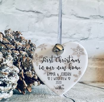 First christmas in our new home ceramic heart