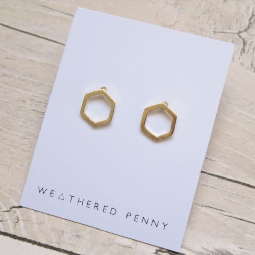 Hexagon Earrings - Gold