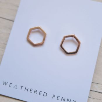 Honeycomb Earrings - Rose Gold