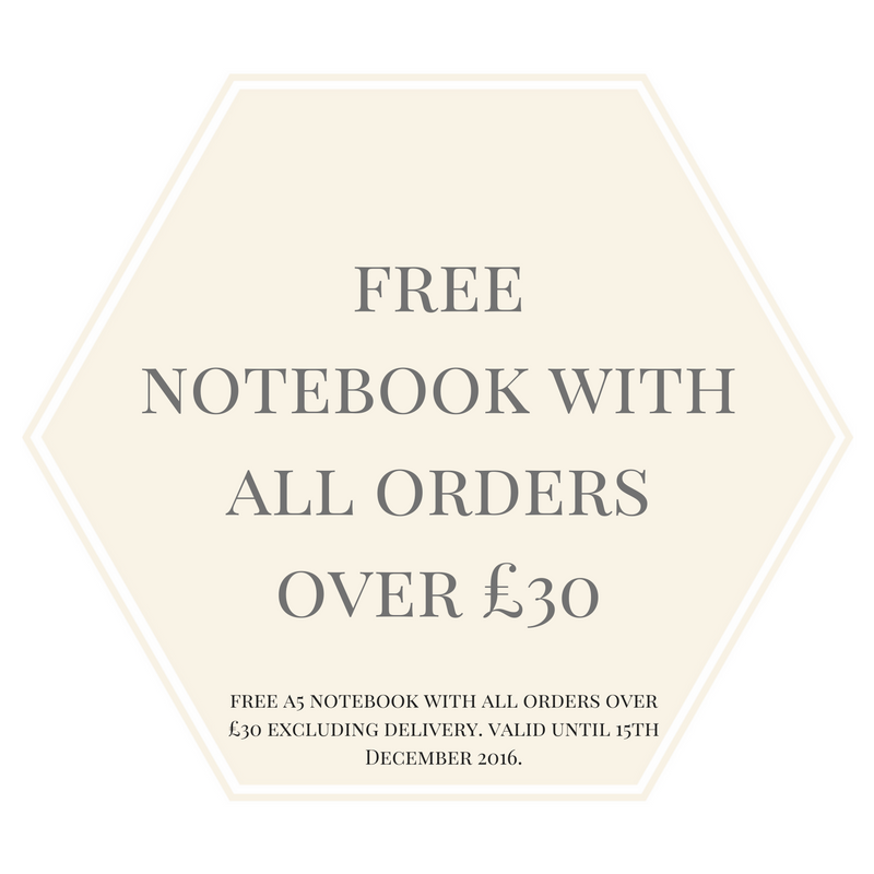 We're offering a free notebook with all orders over £30 until 15th December 2016. No code necessary, one of our three notebooks will be added to your order automatically.