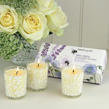 Beefayre Lavender & Geranium Candle Set