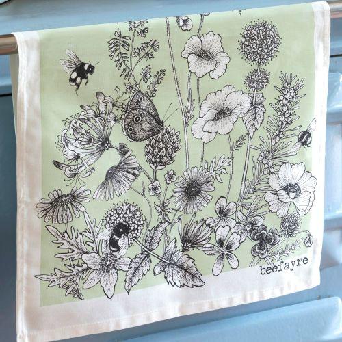 Bee & Flower Tea Towel