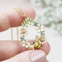 Crystal Flower & Bee Necklace