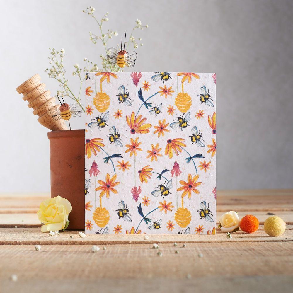 Floral Bee Wildflower Seed Card
