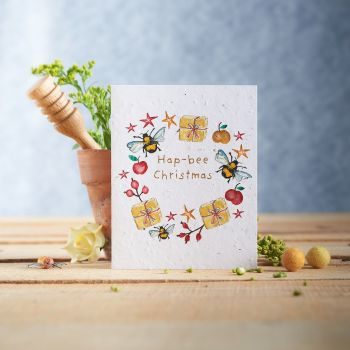 Hap-Bee Christmas Seed Card