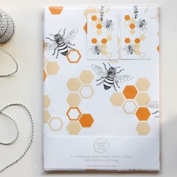 Bee Gift Wrap Set