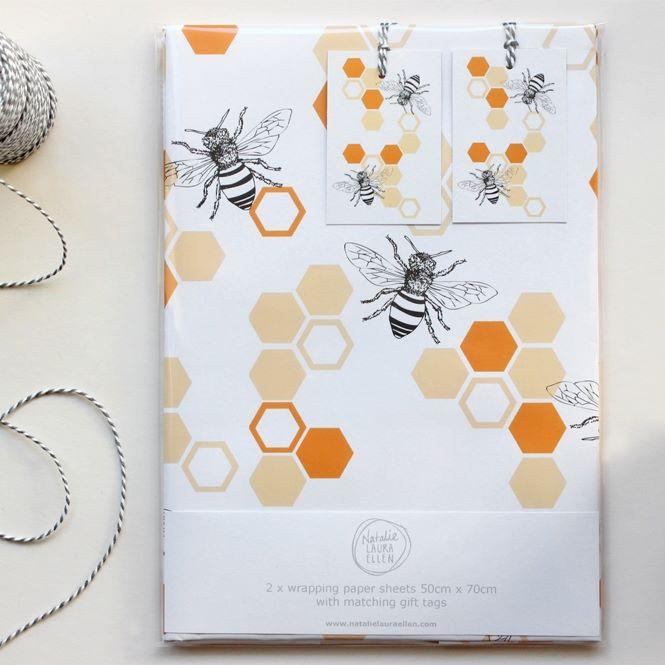 Bee Gift Wrap Set