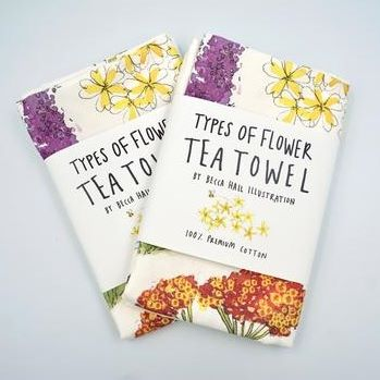 Flowers Bees Love Tea Towel