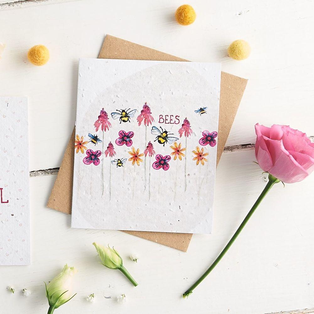 Bees & Flowers Wildflower Seed Card - Pink