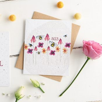 Bees & Flowers Wildflower Seed Card
