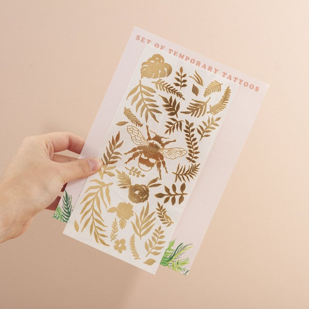 Bee Temporary Tattoos (Gold)