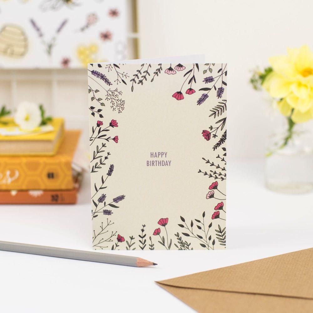 Floral Border Birthday Card