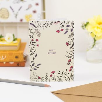 Floral Border Birthday Card