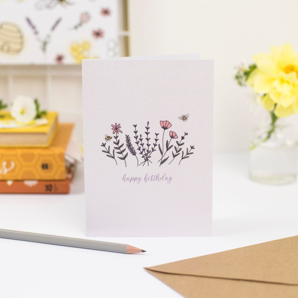 Floral Meadow Birthday Card