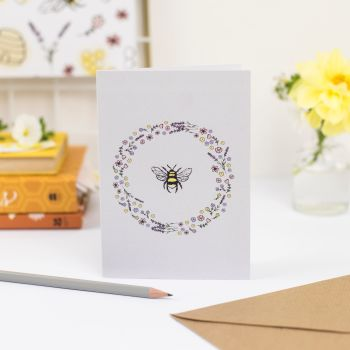 Floral Wreath & Bee Greetings Card
