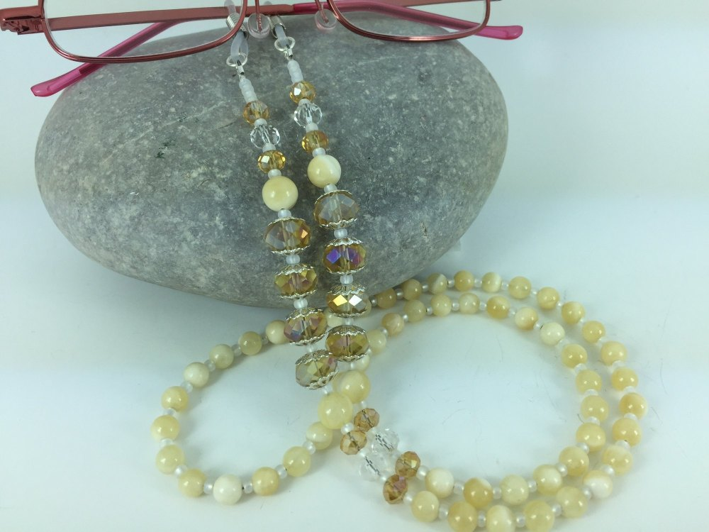 Honey Quartz Crystal Gemstone Glasses Chain