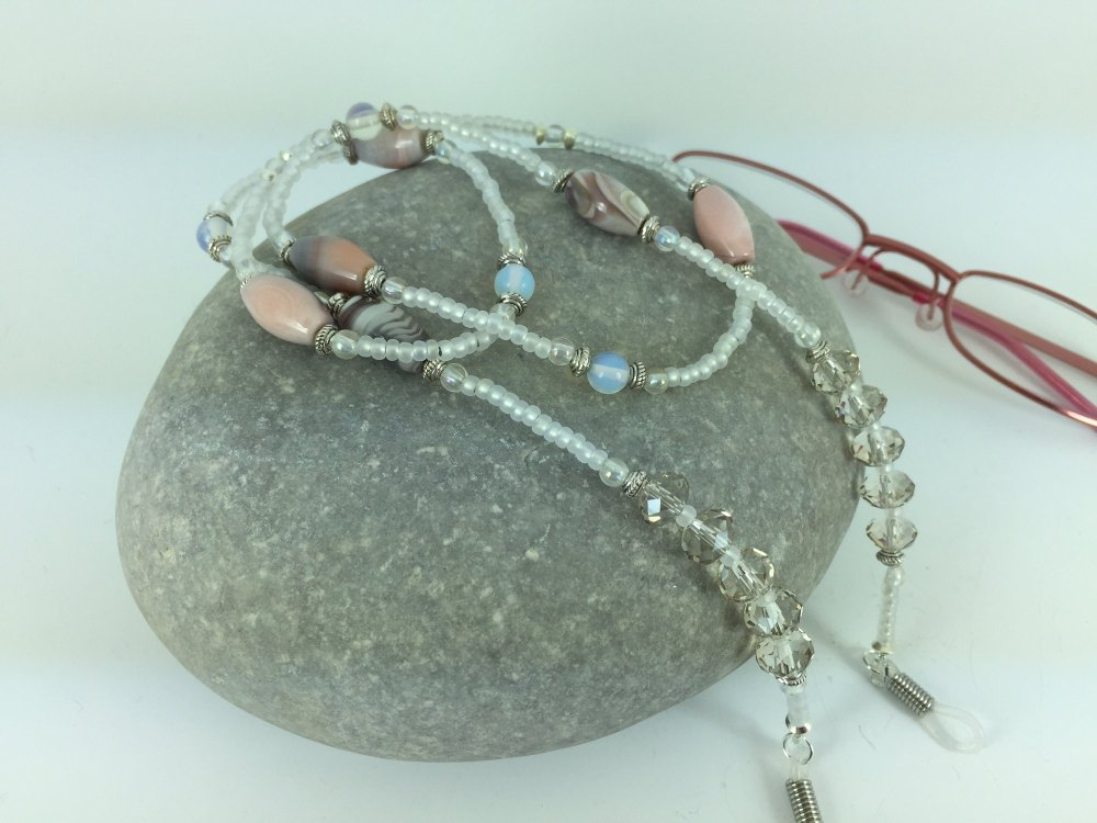 Pink & Grey Agate with Opalite Gemstone Glasses Chain