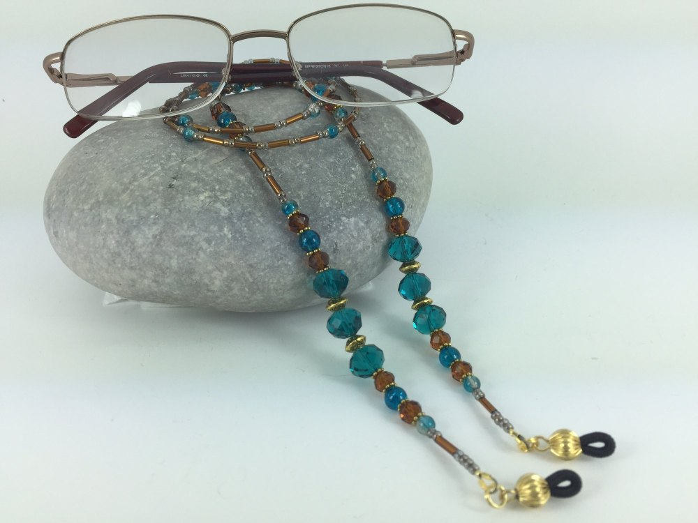 Unusual Copper & Petrol Blue Glasses Chain