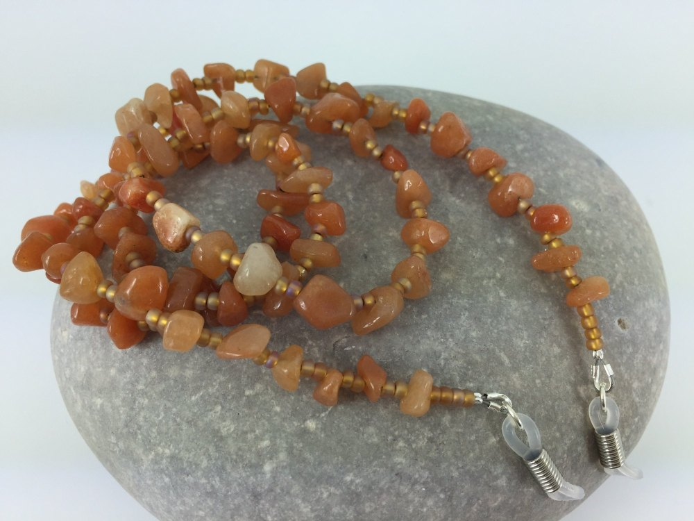 Carnelian Chip Gemstone Glasses Chain