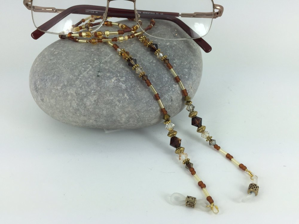 Topaz & Amber Swarovski Crystal Glasses Chain
