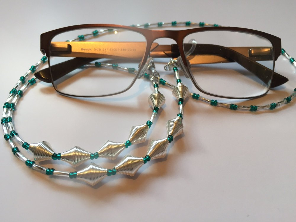 Funky Teal & Silver Coiled Wire Beaded Glasses Chain