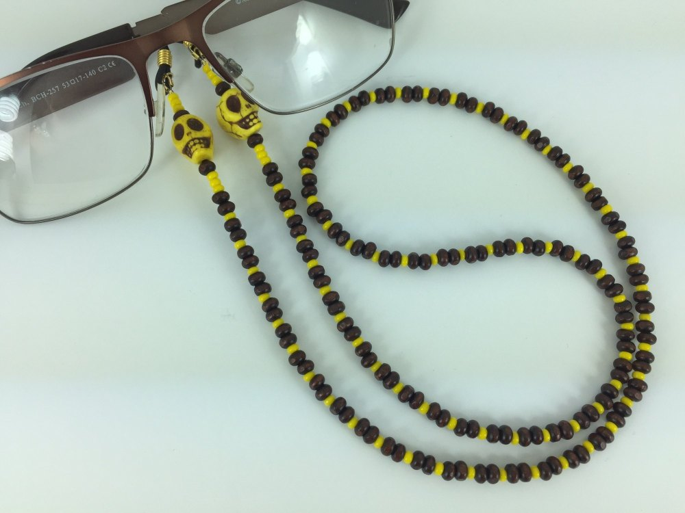 Funky Yellow Howlite Skull & Wood Glasses Chain
