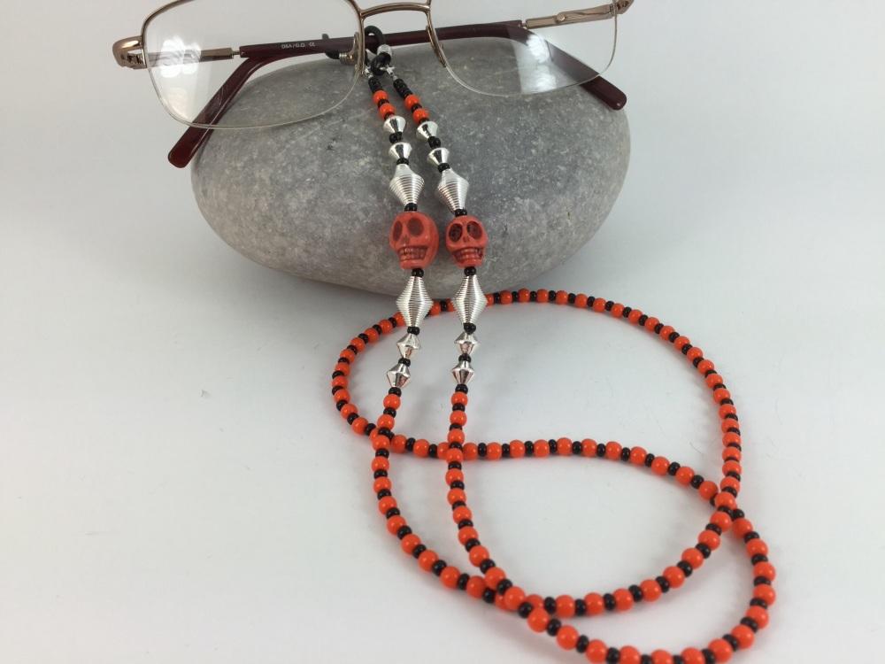 Orange and Black Hoplite Skull Glasses Chain