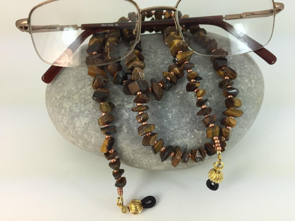 Tiger's Eye Chip Gemstone Glasses Chain