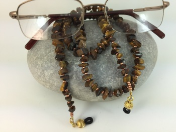 Tiger's Eye Chip Gemstone Glasses Chain