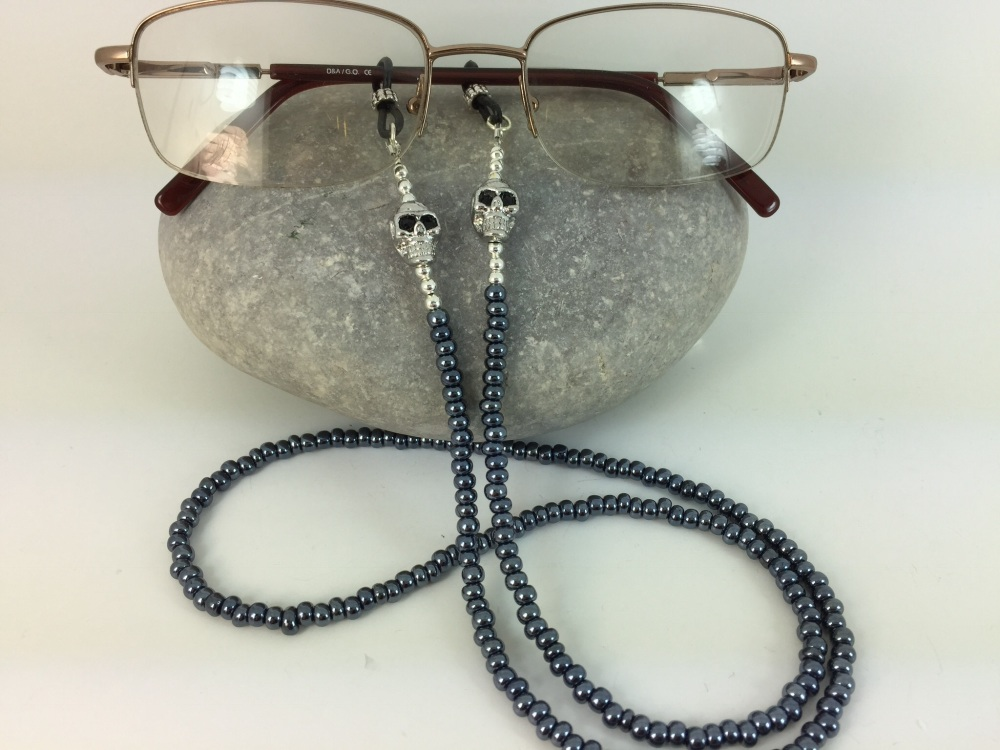 Gunmetal Skull Glasses Chain