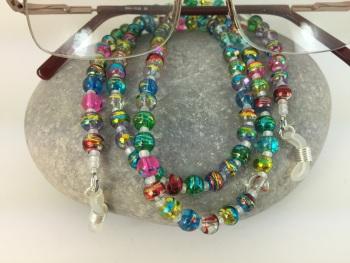 Multi Coloured Drawbench Glass Beaded Glasses Chain