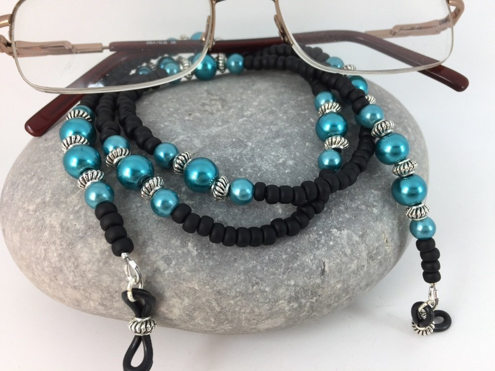 Matt Black & Teal Glass Pearl Glasses Chain