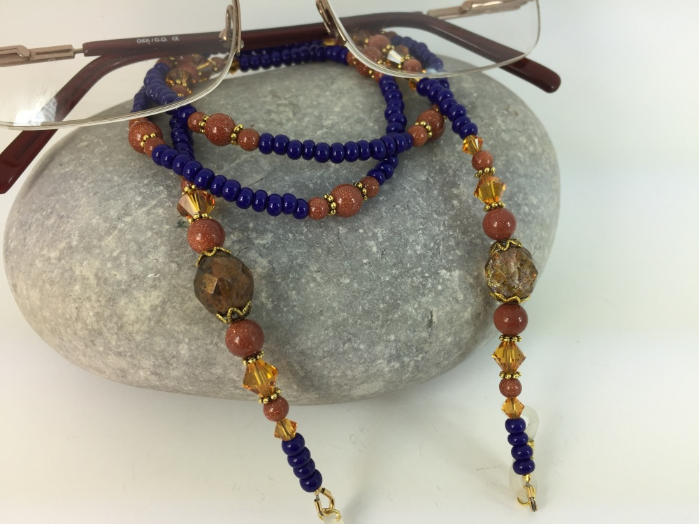 Royal Blue & Light Amber Swarovski Crystal Glasses Chain