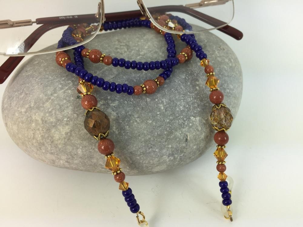 Royal Blue & Light Amber Swarovski Crystal Glasses Chain