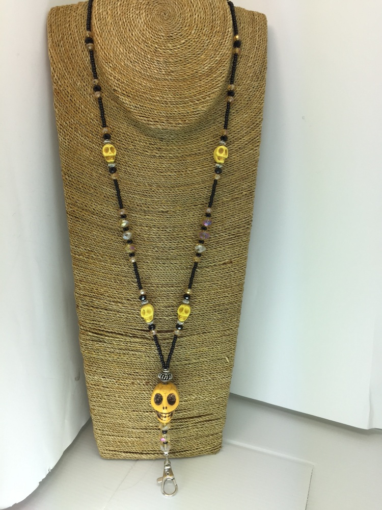 New ProductBlack & Yellow Beaded Skull Lanyard
