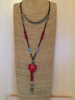 Red Puffy Glass Heart Lanyard