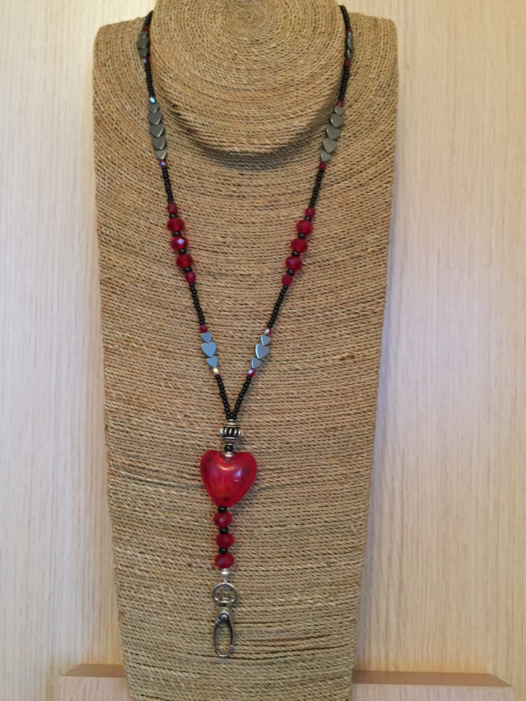 Black & Red Puffy Glass Heart Lanyard