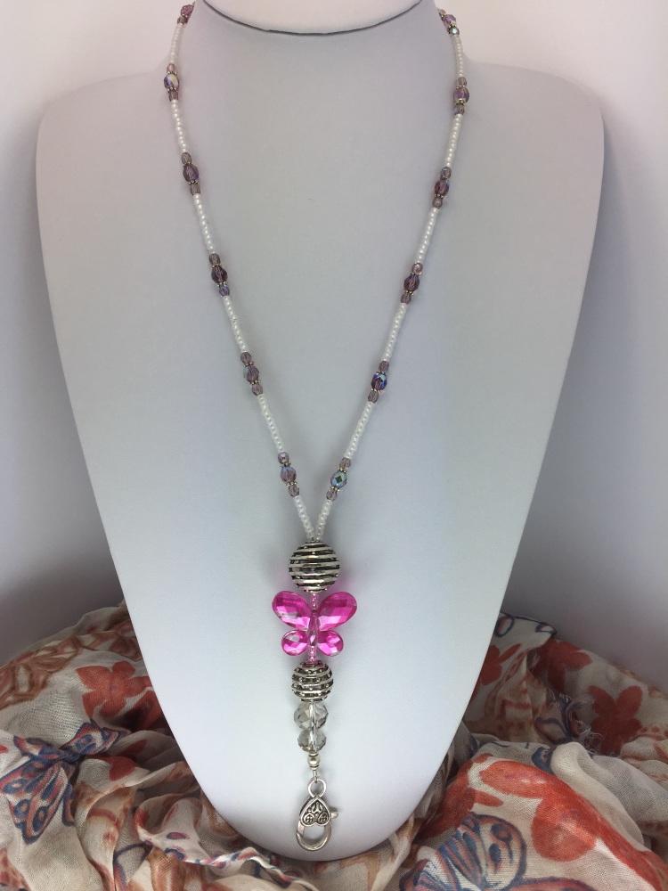 Fuscia Pink Butterfly Lanyard