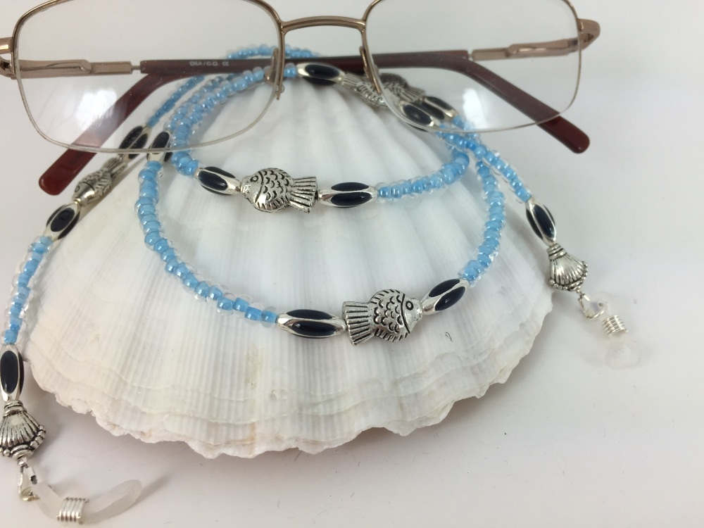 Blue Fish & Shell Glasses Chain